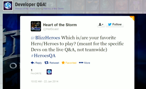 Blizz Q&A Twitter Question from HotSCast